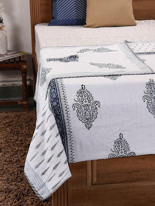White-Multicolor Handblock Printed Cotton Flannel Single Dohar (91in x 57in)