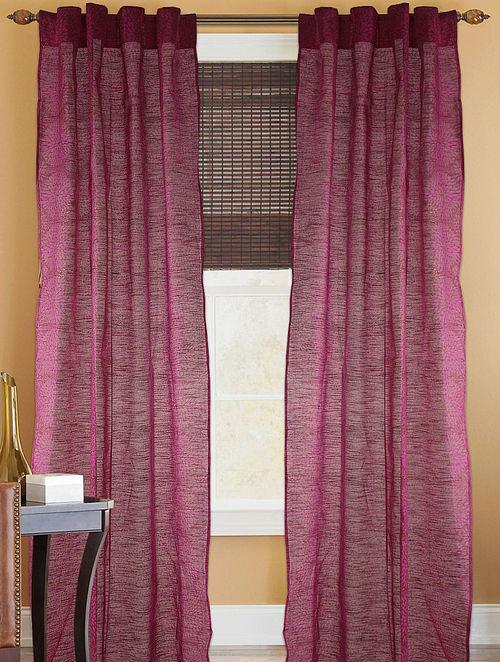 Fuschia-Golden Floral Curtain - 82in x 43in