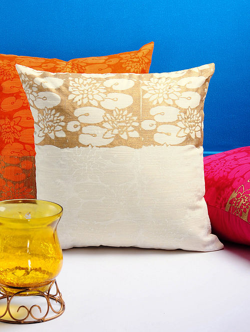 Ivory-Golden Lotus Cushion Cover 15.5in x 15.5in