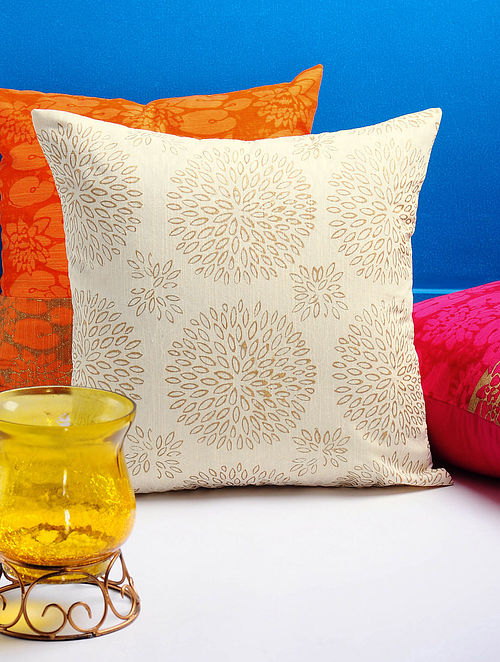 Ivory-Golden Dahlia Cushion Cover 16in x 15.5in