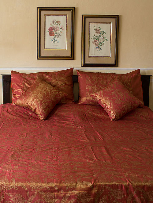 Red-Golden Block-printed Woven Tissue Double Bed Cover with Pillow Covers (Set of 3)