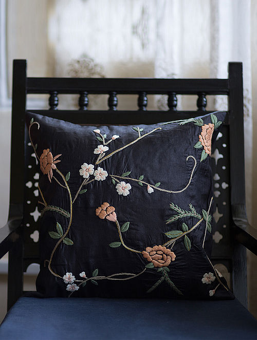 Black-Multicolored Embroidered Tussar Silk Cushion Cover (16in x 16in)