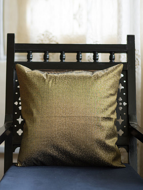 Golden-Black Block-Printed Woven Tissue Cushion Cover (16in x 16in)