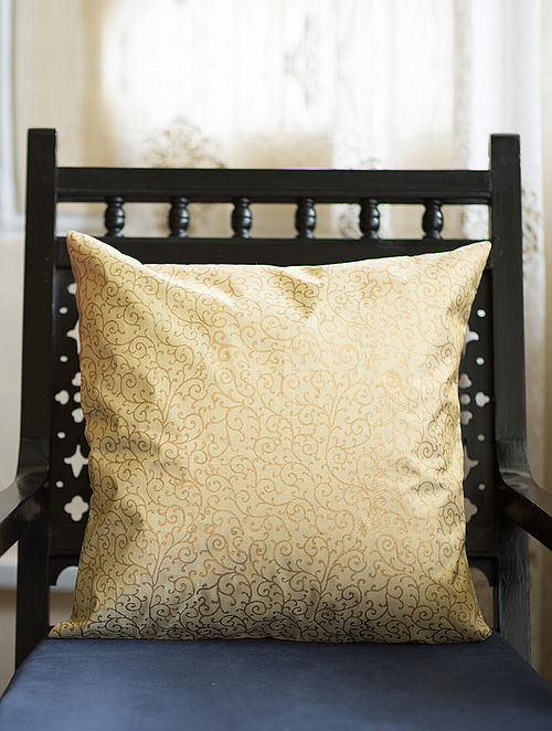 Beige-Golden Block-printed Woven Tissue Cushion Cover (16in x 16in)