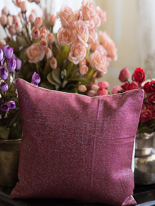 Pink Cotton Jute Cushion Cover (12in x 12in)