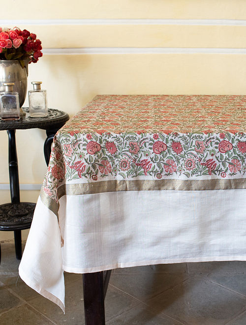 Beige and Red Handwoven Block-printed Cotton Table Cover (108in X 60in)