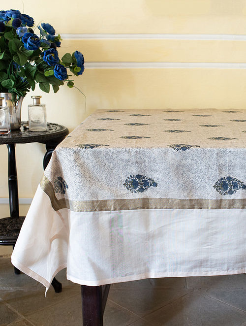 Beige and Blue Handwoven Block-printed Cotton Table Cover (108in X 60in)
