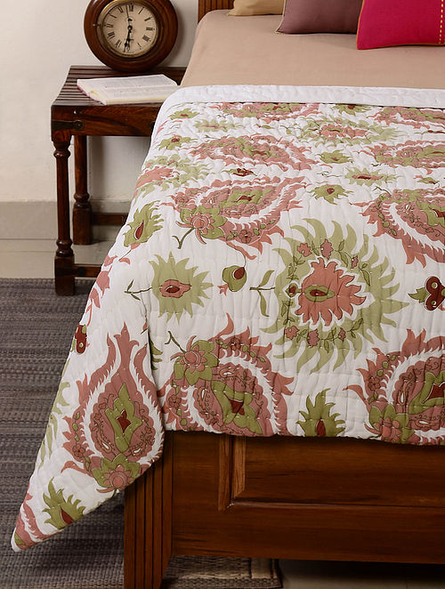 Floral White-Pink-Green Quilt 100in x 98in