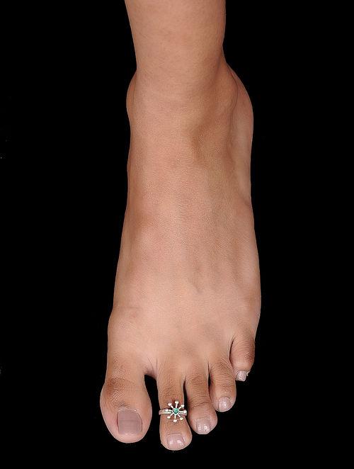 7dbfcbe427f Buy Green Tribal Silver Toe Ring Online at Jaypore.com