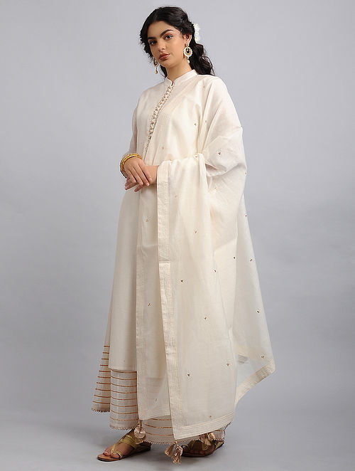 Ivory Chanderi Cotton Dupatta with Zari and Sequins
