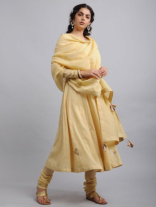 Beige Chanderi Cotton Dupatta with Zari and Sequins