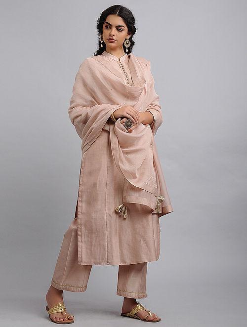 Pink Chanderi Cotton Dupatta with Zari and Sequins