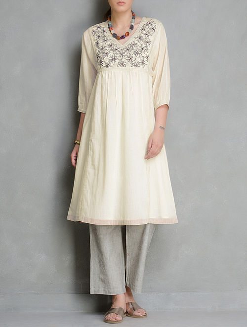 Cream V-Neck Embroidered & Pleated Cotton Kurta by Radha