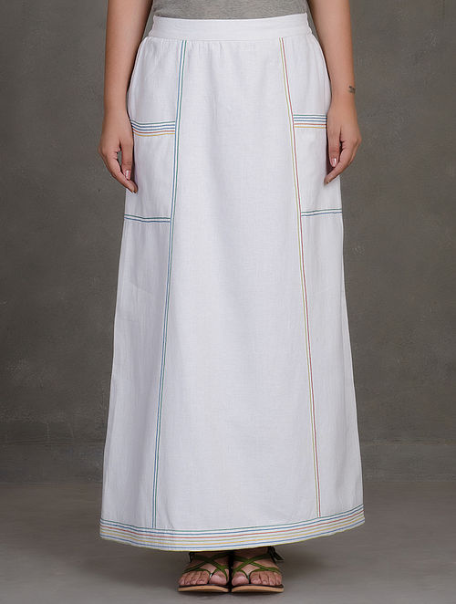 White-Multicolor Thread Detailed Elasticated Khadi Skirt with Side Pockets