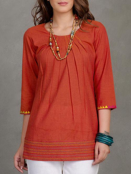 Orange Pleated & Embroidered Mangalgiri Tunic