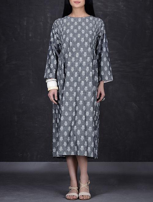 Grey-Ivory Pintuck Ikat Cotton Long Dress