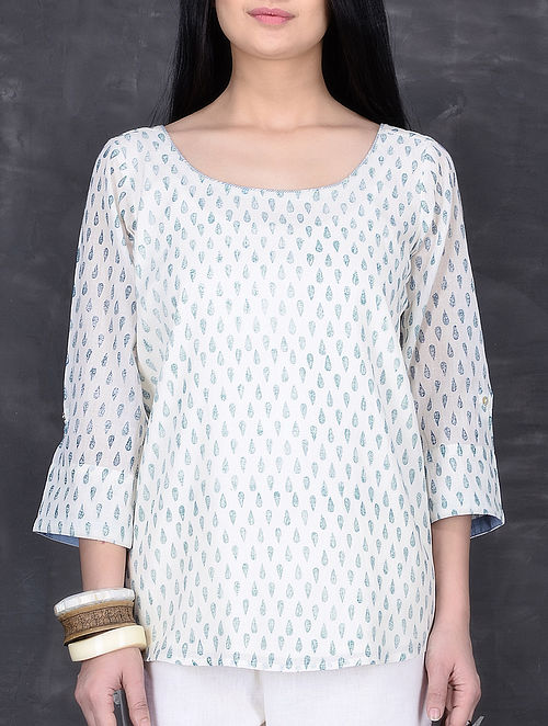 Ivory-Blue Block Printed Cotton Mul Top