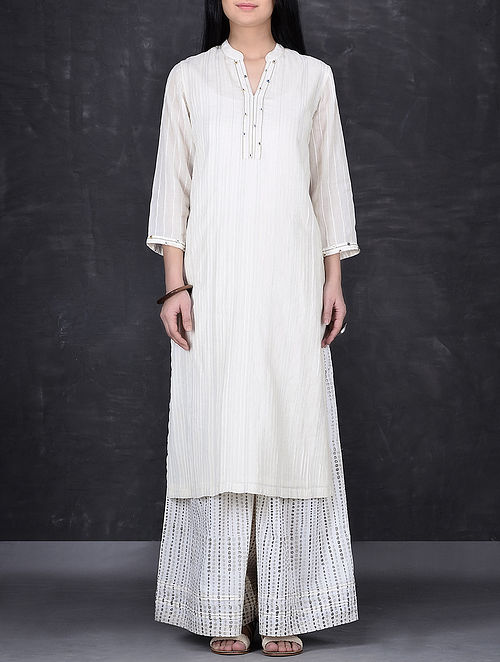 Ivory Hand Embroidered Pintuck Cotton Mul Long Kurta