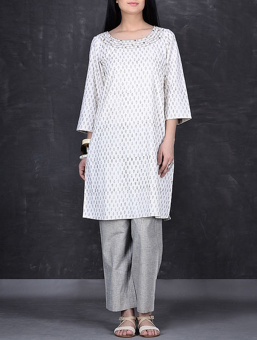 Ivory-Grey Block Printed Hand Embroidered Cotton Tunic