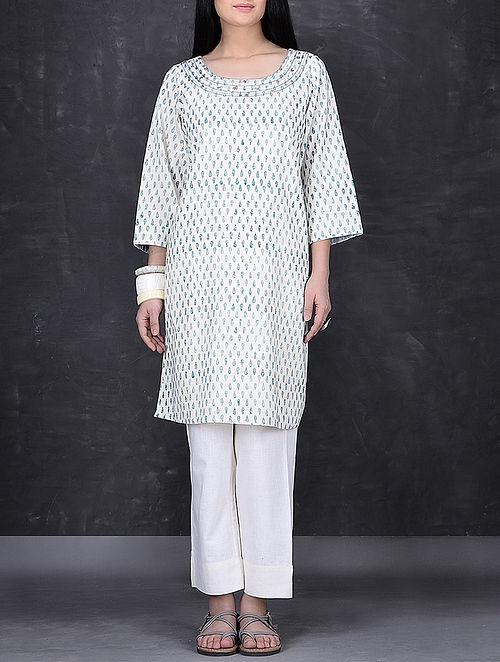 Ivory-Blue Block Printed Embroidered Cotton Tunic