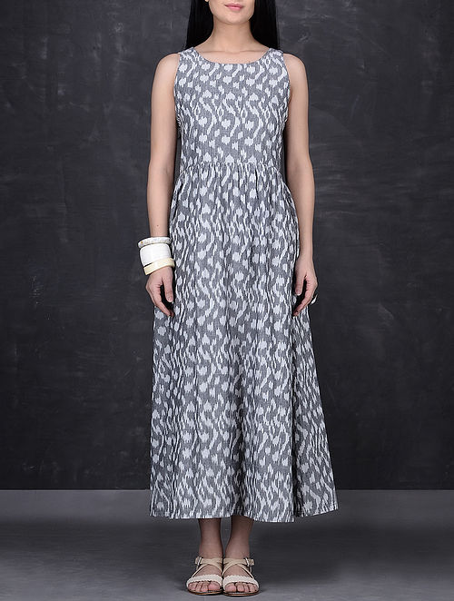 Grey-Ivory Sleeveless Ikat Cotton Dress