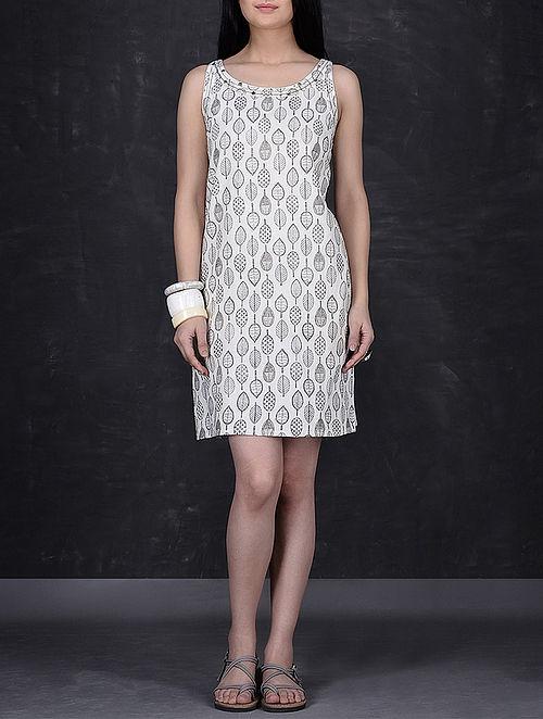 Ivory-Grey Leaf Block Printed Short Khadi Dress