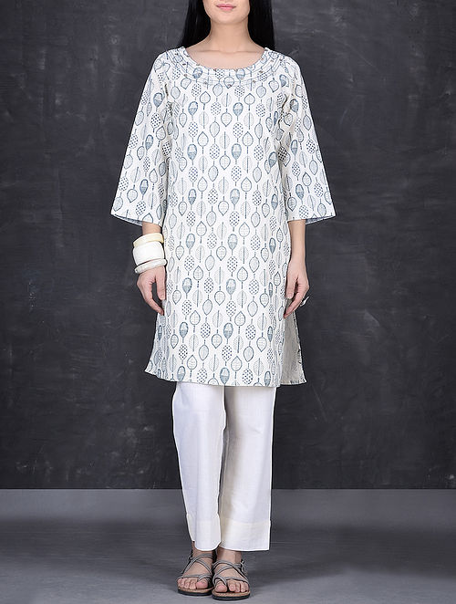 Ivory-Blue Block Printed Hand Embroidered Cotton Tunic