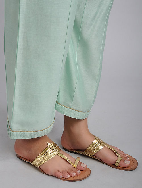 Aqua Chanderi Straight Pyjamas