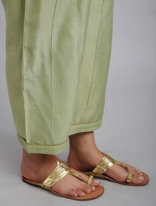 Mint Green Chanderi Straight Pyjamas