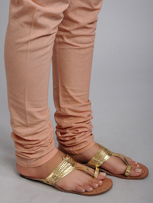 Peach Cotton Churidar with Elasticated Waist