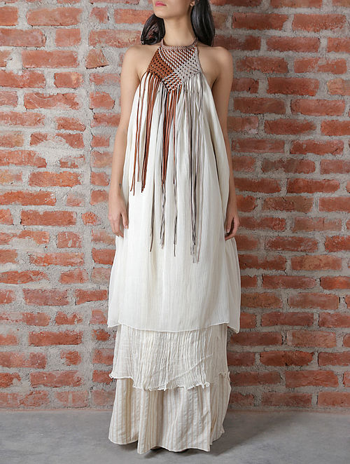 Off White Leather Chiffon Dress