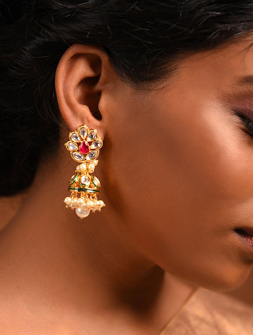 Red Green Gold Tone Jhumki Earrings with Pearls