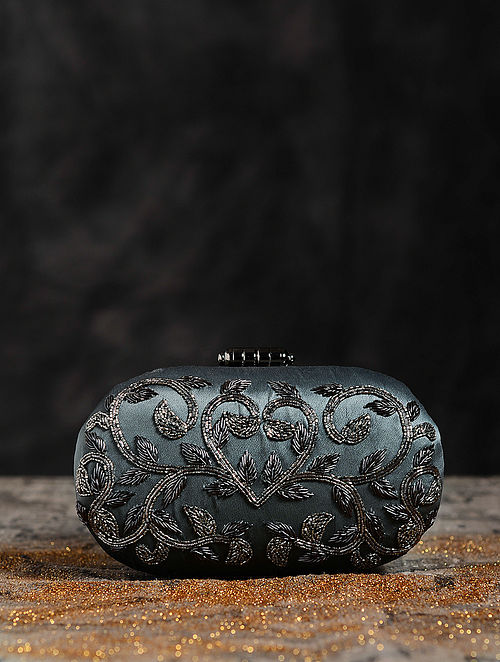 Antique Silver Hand Embroiderd Capsule Clutch