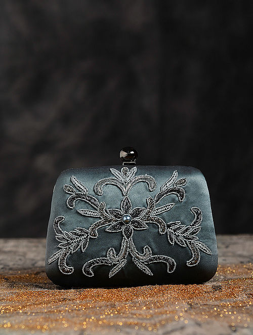 Antique Dull Silver Hand Embroidered Clutch