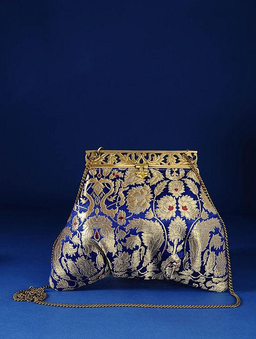 Blue Handcrafted Pure Banarasi Brocade Clutch
