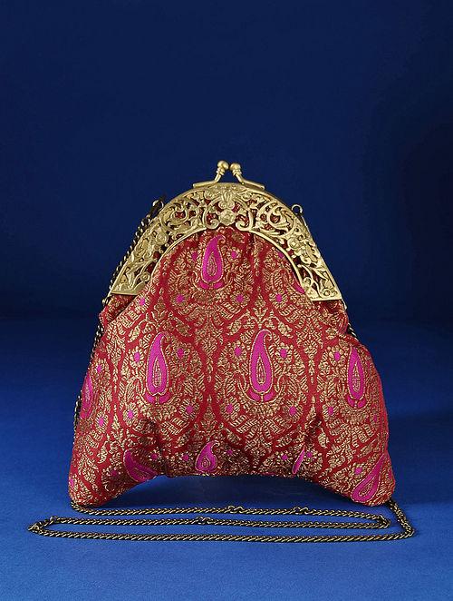 Pink Red Handcrafted Pure Banarasi Brocade Clutch