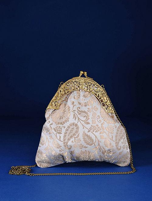 Off White Handcrafted Pure Banarasi Brocade Clutch