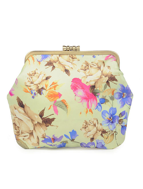 Green Hand-crafted Floral Printed Satin Clutch