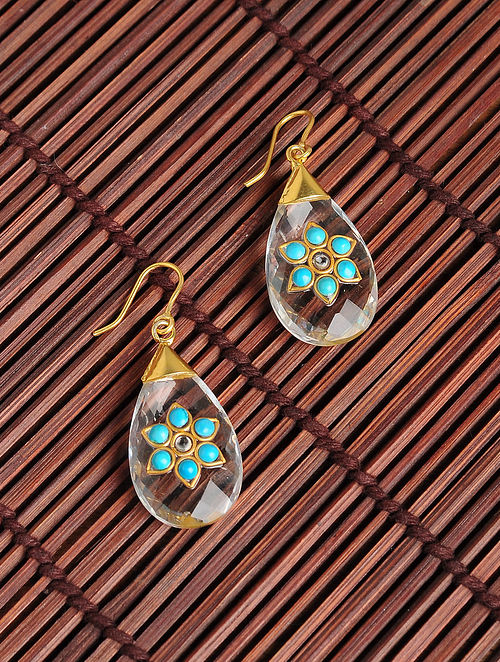 Gold Plated Kundan Silver Earrings with Crystals and Turquoise