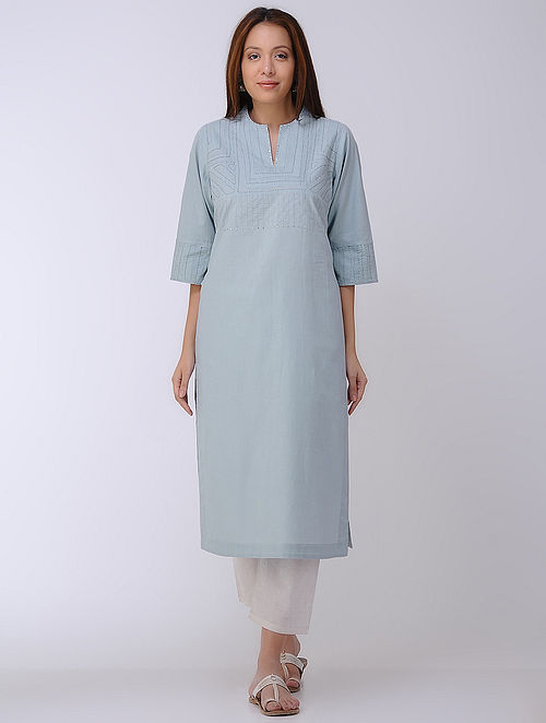 Blue Applique Mangalgiri Kurta