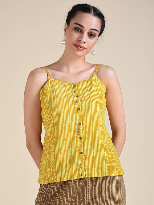 Yellow Dabu Cotton Top with Hand Embroidery