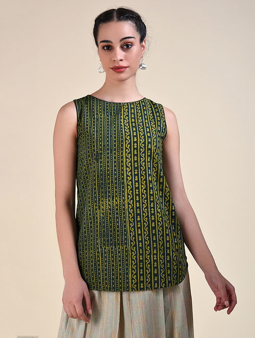 Green Dabu Cotton Top with Hand Embroidery