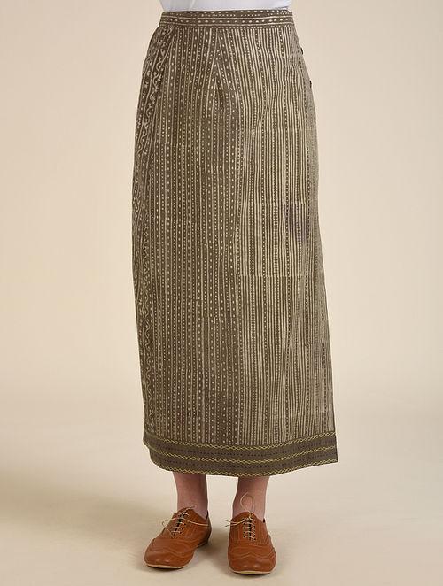 Brown Dabu Cotton Wrap Around Skirt with Hand Embroidery