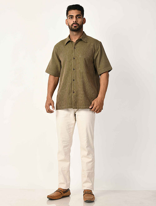 Green Handwoven Dobby Cotton Striped Half Sleeve Shirt