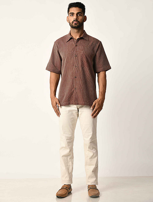 Maroon Handwoven Dobby Cotton Striped Half Sleeve Shirt