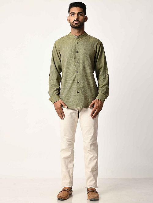 Green Handwoven Dobby Cotton Striped Full Sleeve Shirt