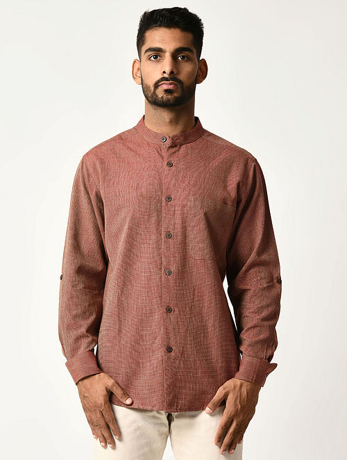 Maroon Handwoven Dobby Cotton Striped Full Sleeve Shirt