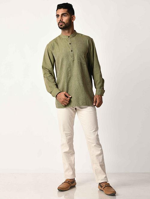 Green Handwoven Dobby Cotton Striped Full Sleeve Short Kurta