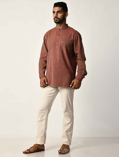 Maroon Handwoven Dobby Cotton Striped Full Sleeve Short Kurta