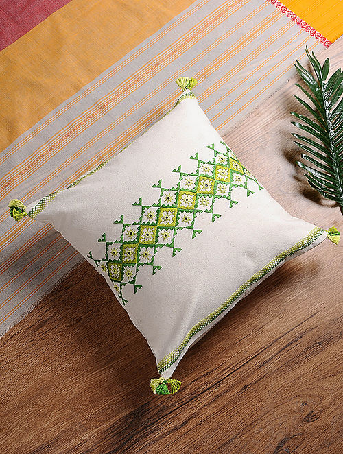 White-Green Hand-Embroidered Cotton Cushion Cover (16in x 16in)